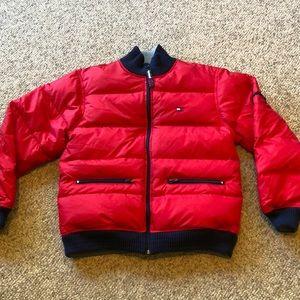 Vtg Tommy Hilfiger Red Down Flag puffer Jacket L